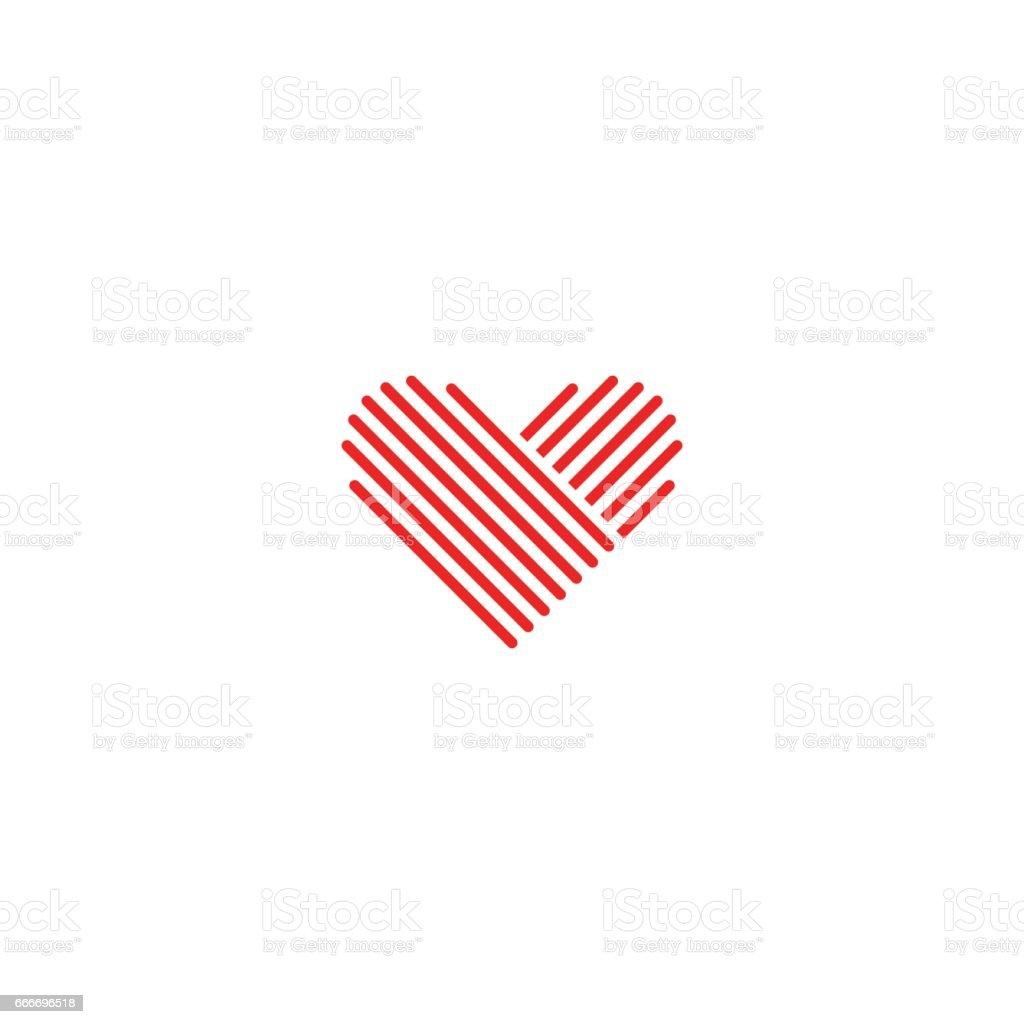 Coeur icône médical rouge emblème, conception élément signe de mariage, monogramme romantique fine ligne maquette - Illustration vectorielle