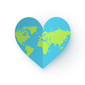 Earth heart icon vector image. Carefully layered and grouped for easy editing.