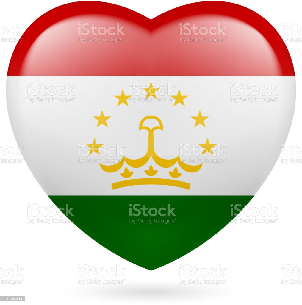Heart icon of Tajikistan royalty-free stock vector art