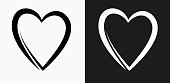 Heart Icon on Black and White Vector Backgrounds. This vector illustration includes two variations of the icon one in black on a light background on the left and another version in white on a dark background positioned on the right. The vector icon is simple yet elegant and can be used in a variety of ways including website or mobile application icon. This royalty free image is 100% vector based and all design elements can be scaled to any size.