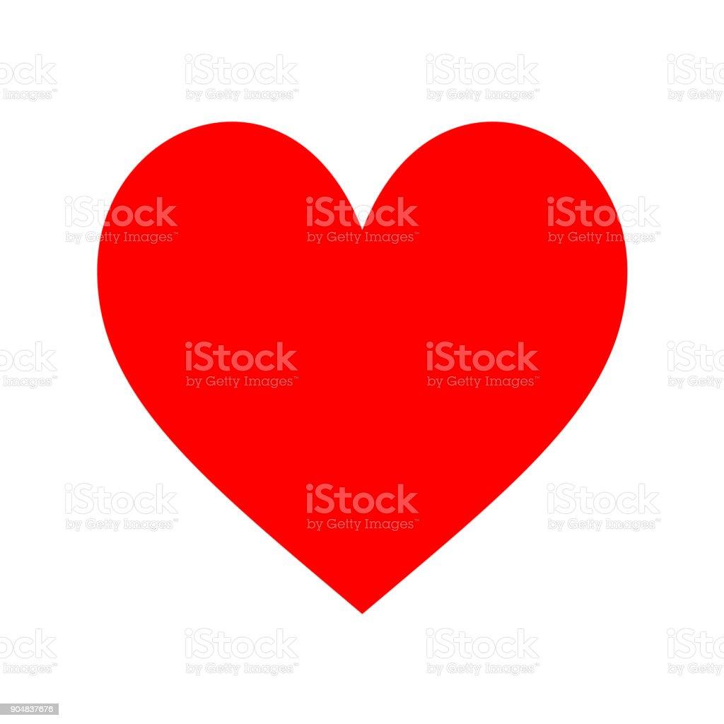 Heart icon on white background. Minimal flat red love symbol. vector art illustration