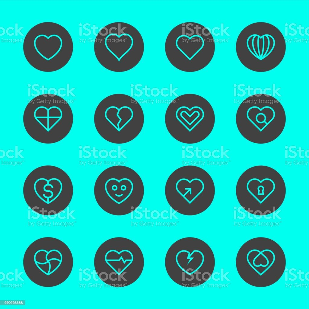 Heart Icon Set 1 - Black Circle Line Series royalty-free heart icon set 1 black circle line series stock vector art & more images of arrow - bow and arrow