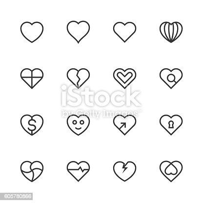Heart Icon Set 1 Line Series Vector EPS File.