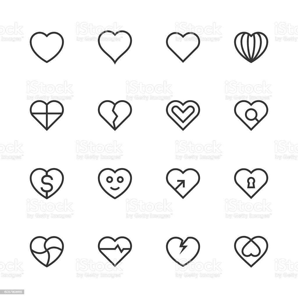 Heart Icon Set 1 - Line Series vector art illustration
