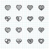 Heart Icon Set 2 Hand Drawn Series Vector EPS File.