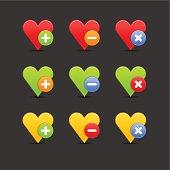 Heart icon set circle buttons plus minus delete gray background