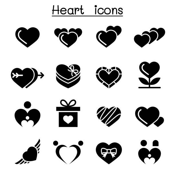 Heart icon set Heart icon set affectionate stock illustrations