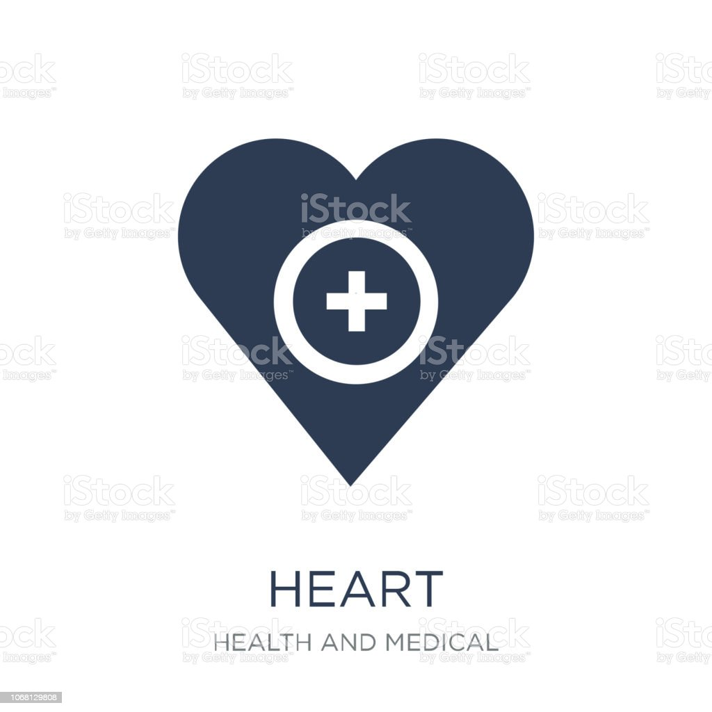 Heart icon. Trendy flat vector Heart icon on white background from Health and Medical collection vector art illustration