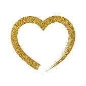 Heart icon with glitter effect, isolated on white background. Handwritten design. Vector trendy illustration. - Illustration