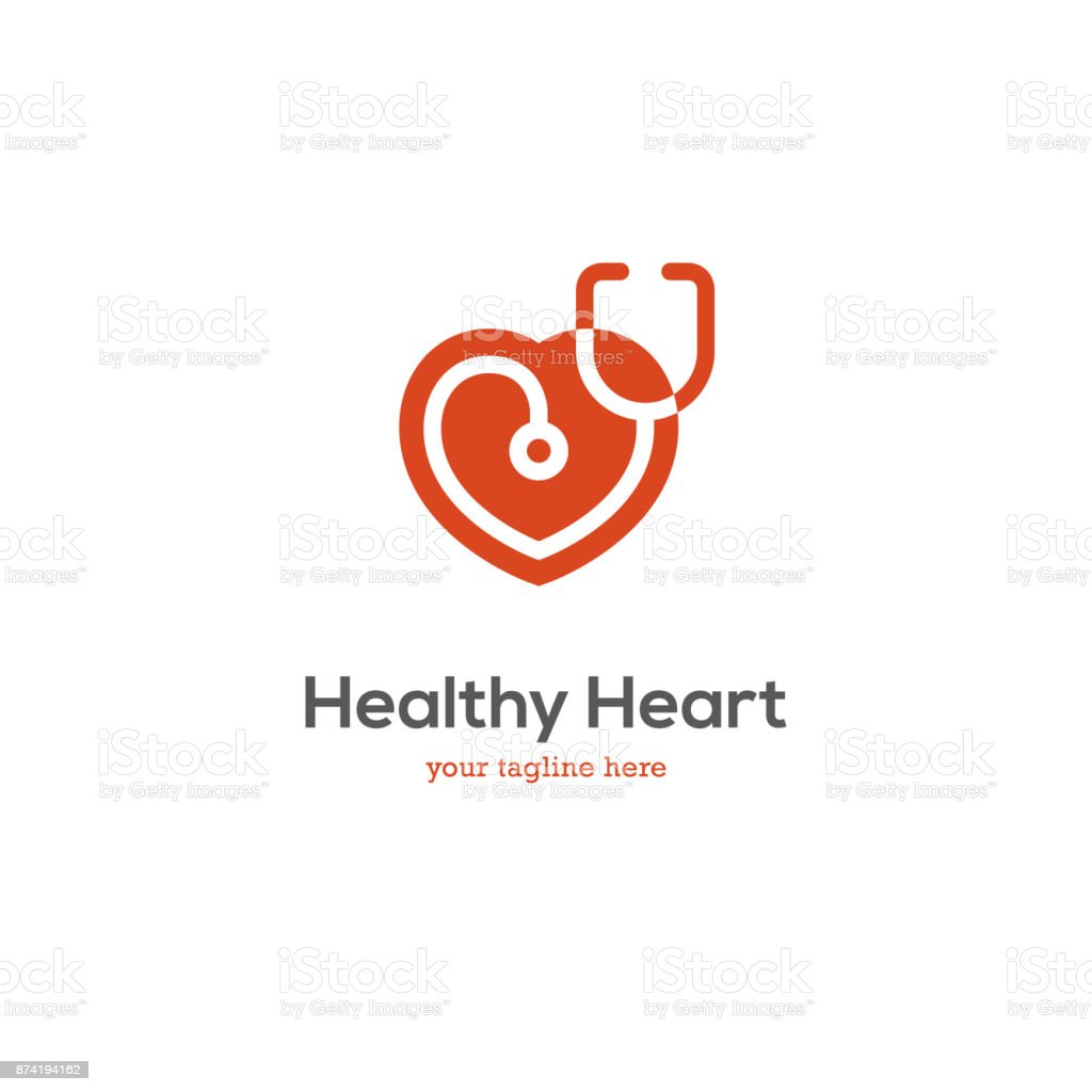 Heart icon with stethoscope. vector art illustration