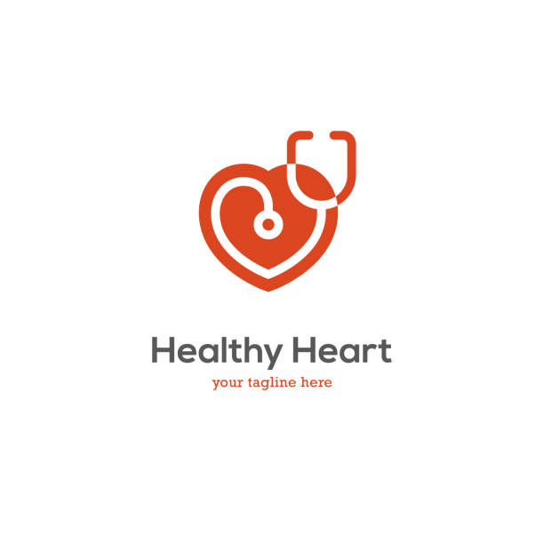 Heart icon with stethoscope. Heart icon with stethoscope. Cardiology health care center or medical clinic design concept. stethoscope stock illustrations