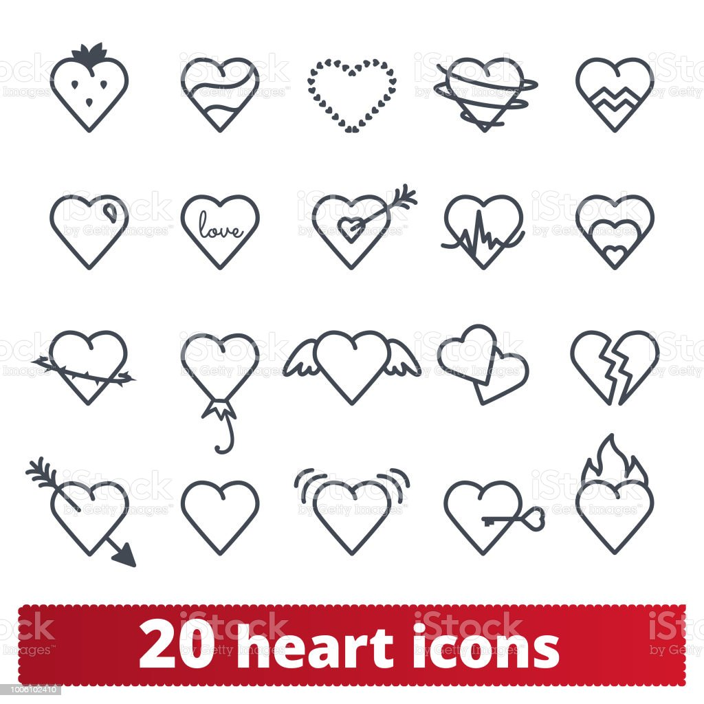 Heart Icons And Love Symbols Vector Collection Stock Vector Art