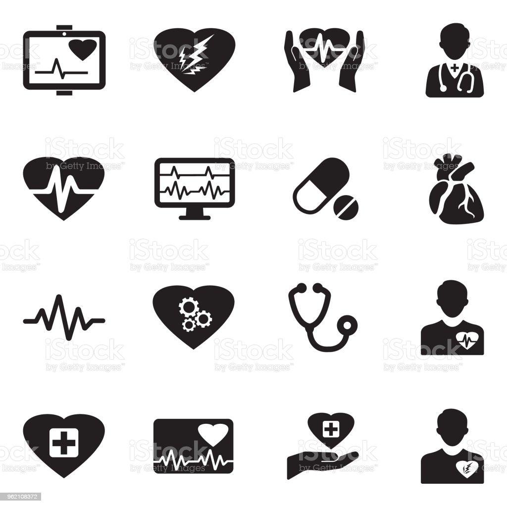 Heart Icons. Black Flat Design. Vector Illustration. vector art illustration