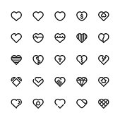 Heart Icons Bold Line Series Vector EPS File.