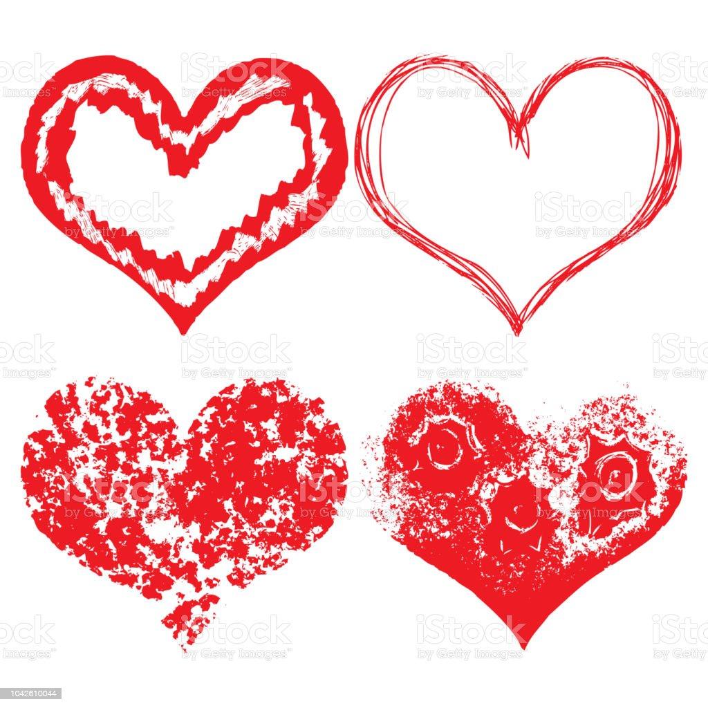 Herz Symbole Von Hand Gezeichnete Symbole Für Valentinstag