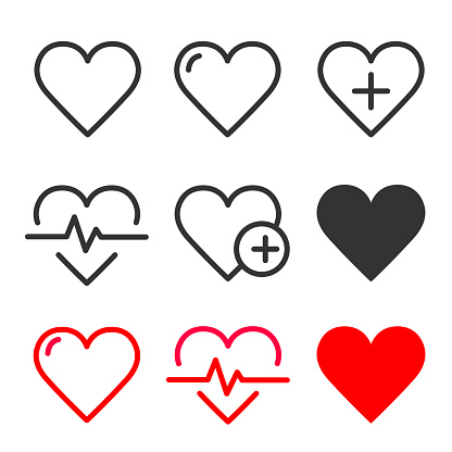 Heart icons set. Heartbeat, nubes, pulse, heart beat, cardiogram, medicine, health sumbol collection. Love passion concep line style icon - stock vector.