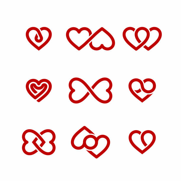 Heart icons set Red heart icons set, Valentines Day design elements romance stock illustrations