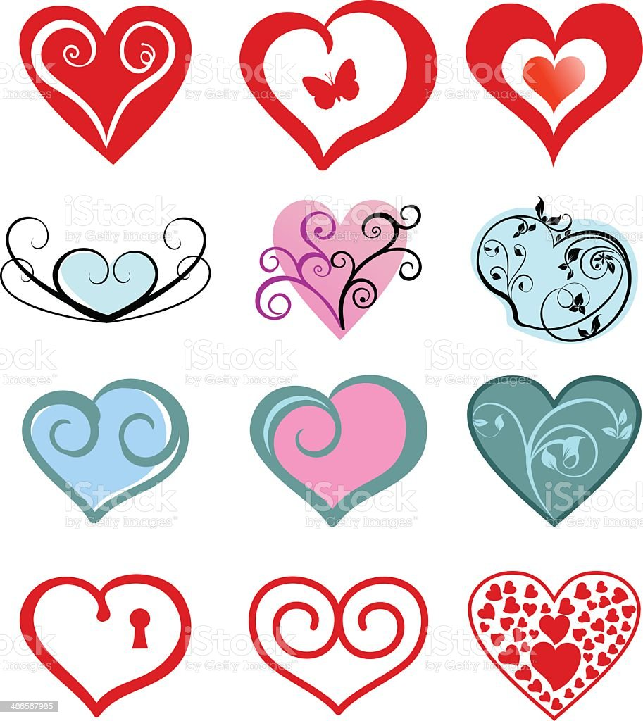 Heart icons royalty-free stock vector art