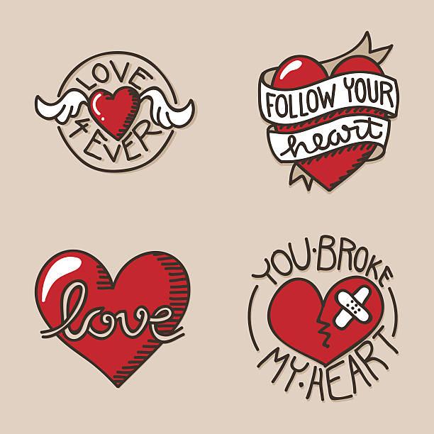 ilustraciones, imágenes clip art, dibujos animados e iconos de stock de iconos de corazón - tatuajes de alas