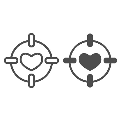 Heart in center of target line and solid icon. Love darts, follover and aiming symbol, outline style pictogram on white background. Valentines day sign for mobile concept, web design. Vector graphics.