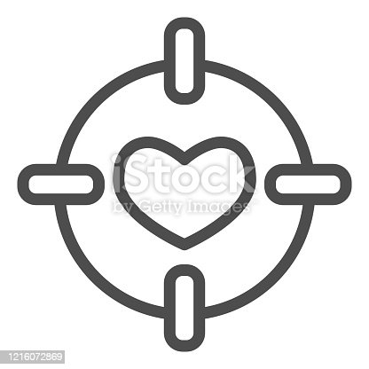 istock Heart in center of target line icon. Love darts, follover and aiming symbol, outline style pictogram on white background. Valentines day sign for mobile concept, web design. Vector graphics. 1216072869