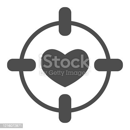 istock Heart in center of target solid icon. Love darts, follover and aiming symbol, glyph style pictogram on white background. Valentines day sign for mobile concept, web design. Vector graphics. 1216072871