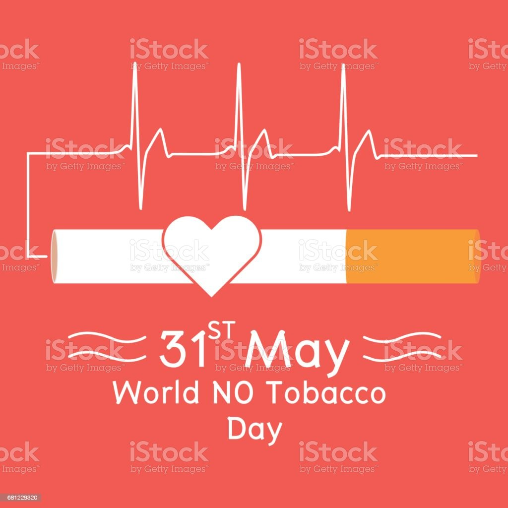 Heart in cigarette with heartbeat signal on red background. Vector illustration flat design World No Tobacco Day concept. royalty-free heart in cigarette with heartbeat signal on red background vector illustration flat design world no tobacco day concept stock vector art & more images of addiction