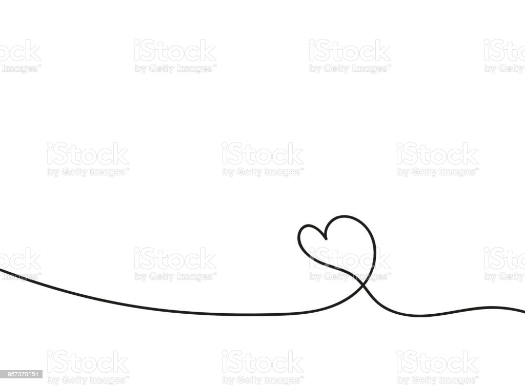 Heart In Continuous Drawing Lines Continuous Black Line The Work Of