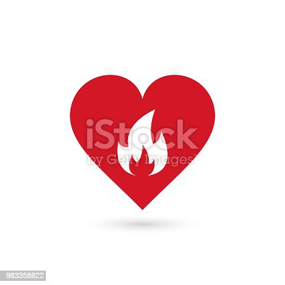 heart in fire symbol, vector simple isolated sign.