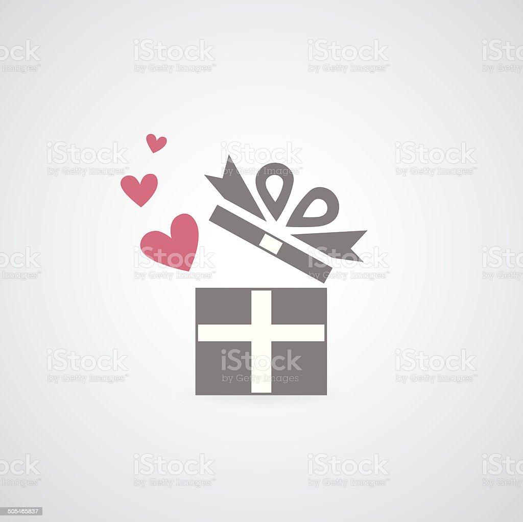 heart in gift box symbol vector art illustration
