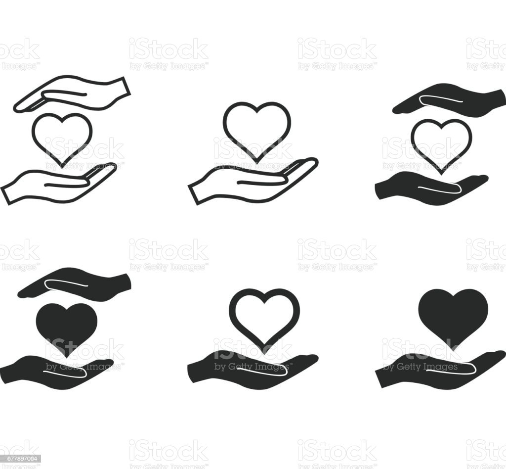 Heart in hand icon set. royalty-free heart in hand icon set stock vector art & more images of abstract