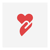 Heart in hand icon,vector illustration. EPS 10.