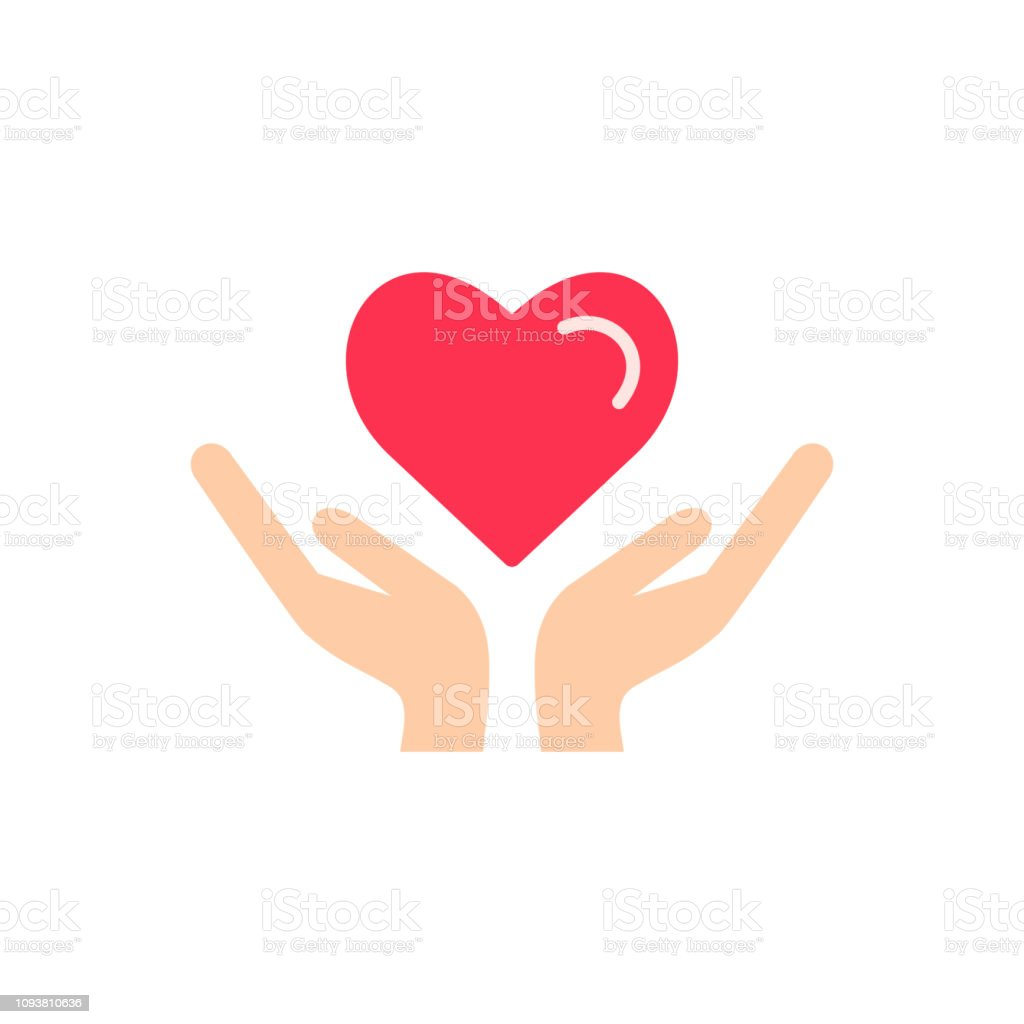 Heart in hand icon vector. Charity Volunteer Collaboration Heart Love...
