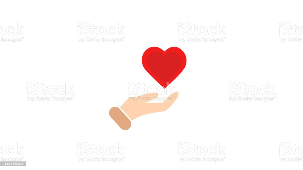 Heart in hand symbol Logo template for charity and donation Icon