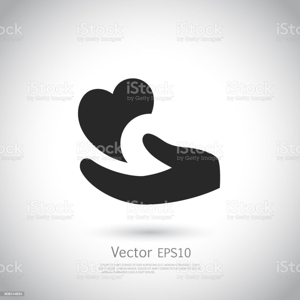 Heart in hand symbol, sign, icon, logo template for charity, health, voluntary, non profit organization. vector art illustration