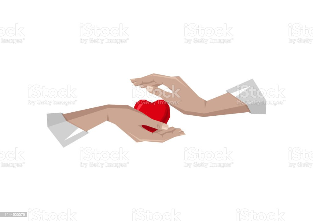 Heart in hand symbol, sign, icon, logo template for charity, health,...