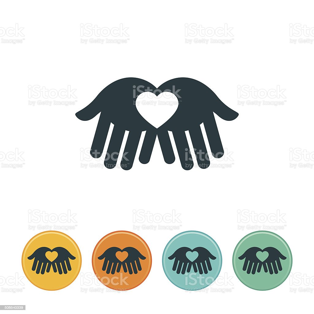 Heart in Hands Icon vector art illustration