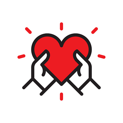 Heart in hands line icon