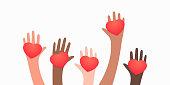 istock Heart in hands. Love concept, vector illustration 1257187542
