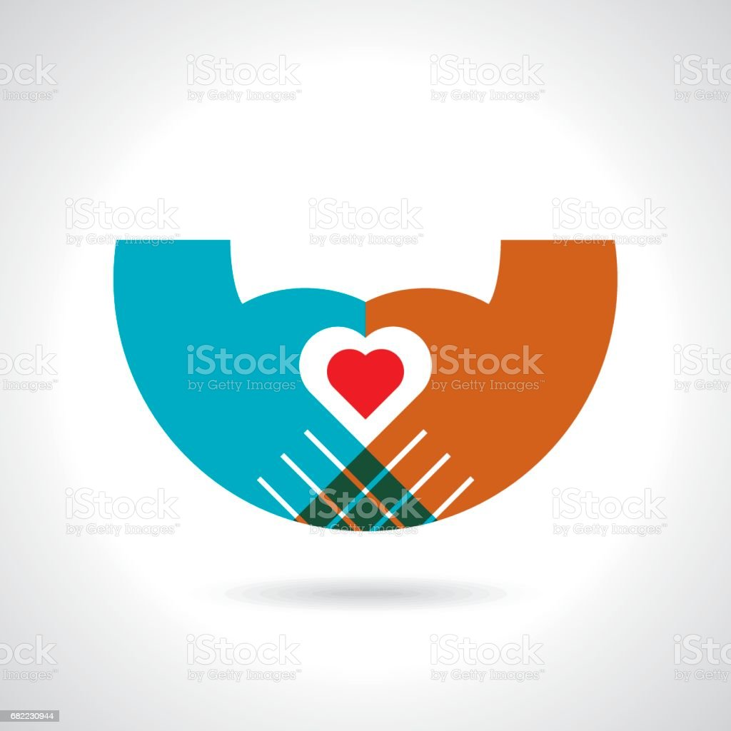 heart in hands on a white background. color symbol vector art illustration