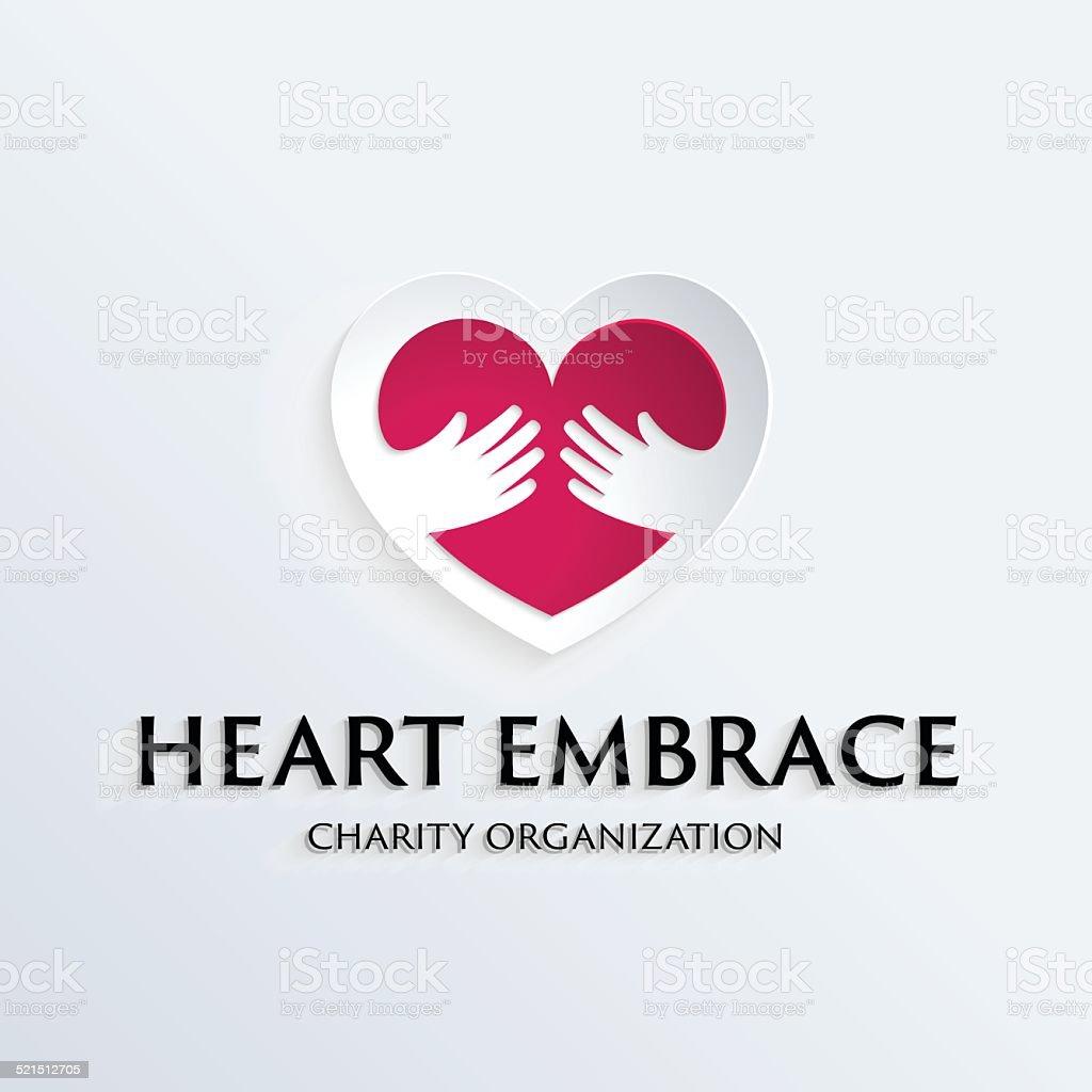 Heart in hands symbol logo template vector art illustration