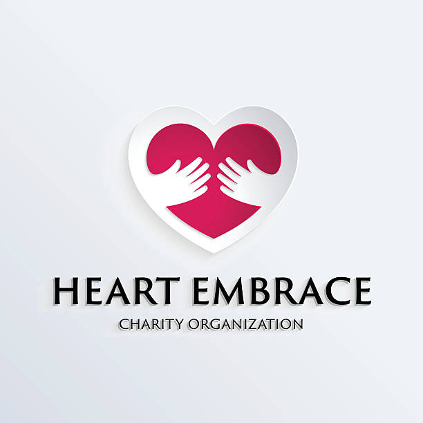illustrazioni stock, clip art, cartoni animati e icone di tendenza di simbolo del cuore in mano logo modello - prendersi cura del corpo