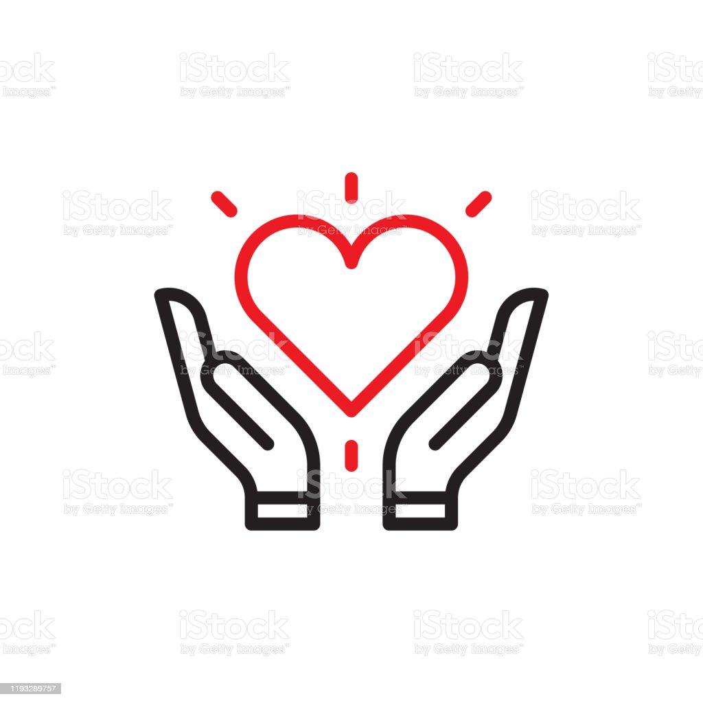 Corazón en las manos - arte vectorial de Agarrar libre de derechos