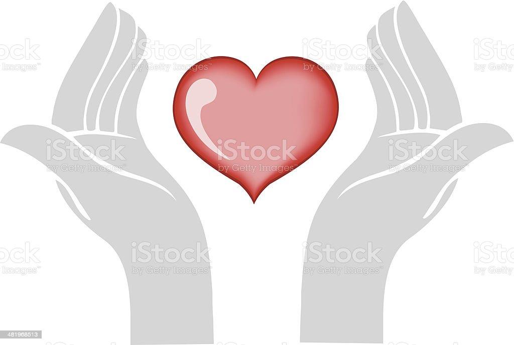Heart In Hands royalty-free stock vector art
