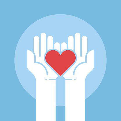 Heart in hands,donation concept,vector illustration