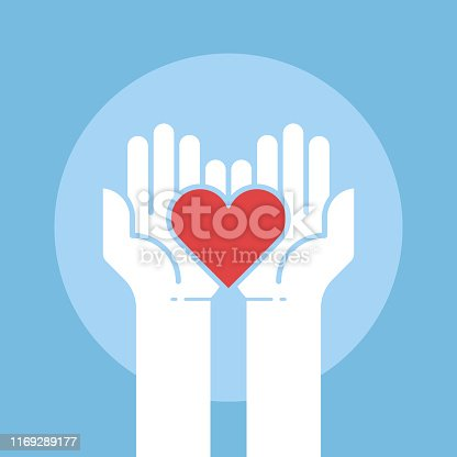 istock Heart in hands,donation concept,vector illustration 1169289177