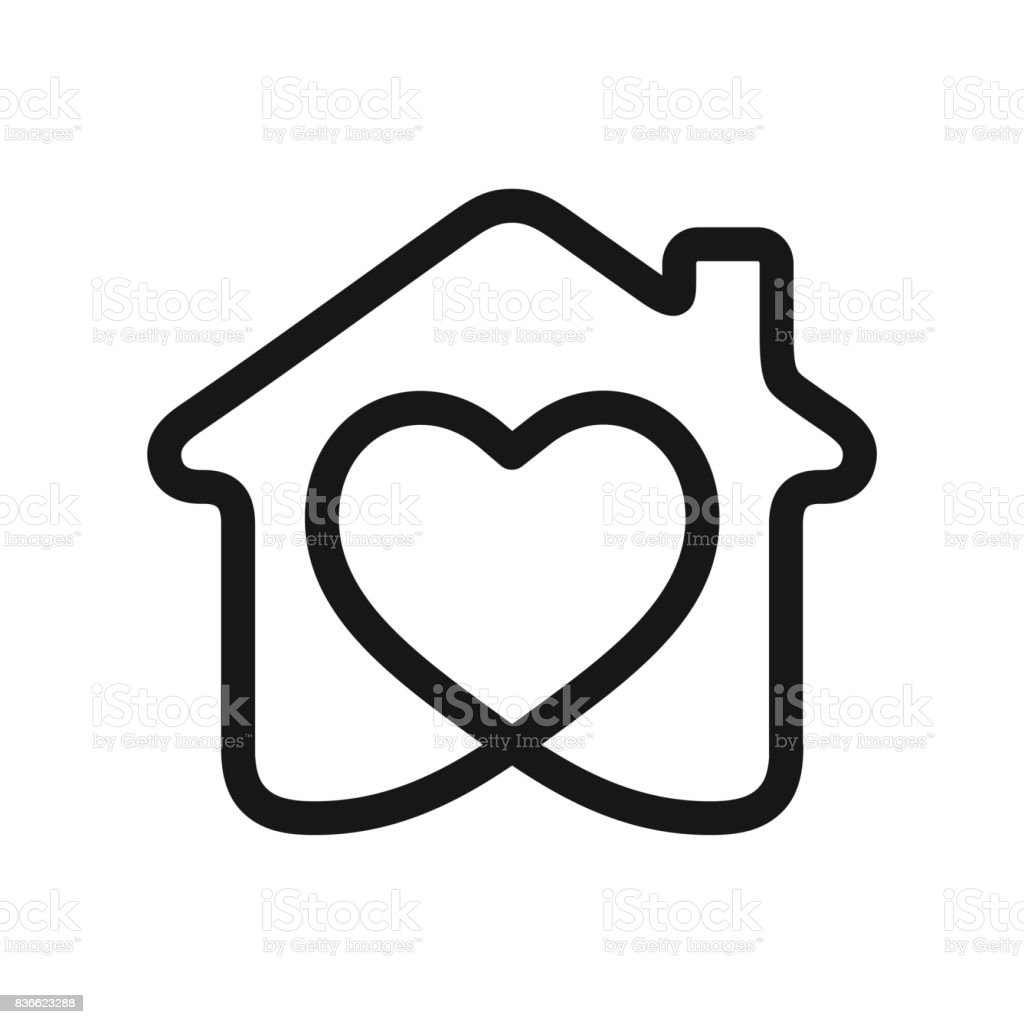 Heart in house vector art illustration