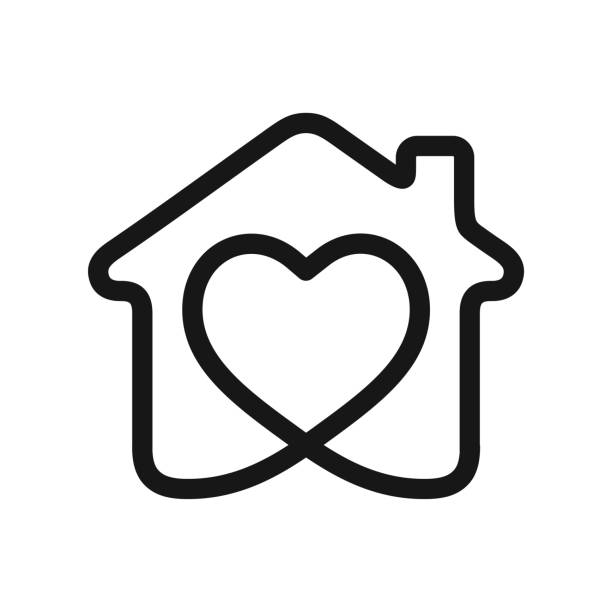 heart in house - home stock illustrations