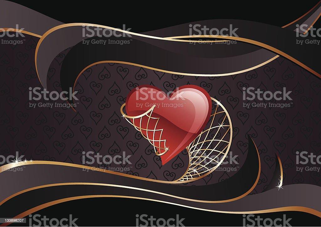 Heart in Net Banner royalty-free stock vector art