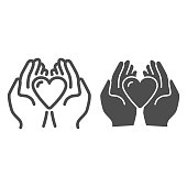 istock Heart in palms line and solid icon, love or health care concept, Human hands holding heart vector sign on white background, giving heart symbol in outline style mobile and web design. Vector graphics. 1225514496